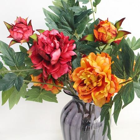 "Real Touch Peony Flower Leaf Stem in Orange or Red 24"" Tall - G Home Collection"