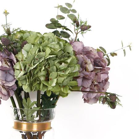 Silk Single Hydrangea Stem in Green and Purple with Fruit and Plant - G Home Collection