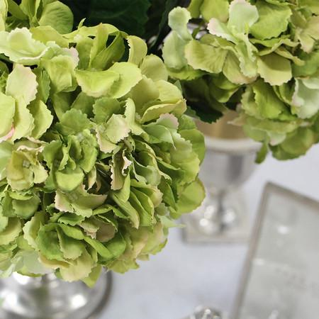 "Silk Serrated Petal Hydrangea Stem in Green 28"" Tall - G Home Collection"