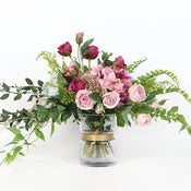 Pink Rose and Green Leaf Bouquet with Glass Vase