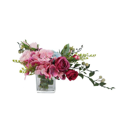 Pink Rose Hydrangea and Leaf Bouquet in Square Glass Vase