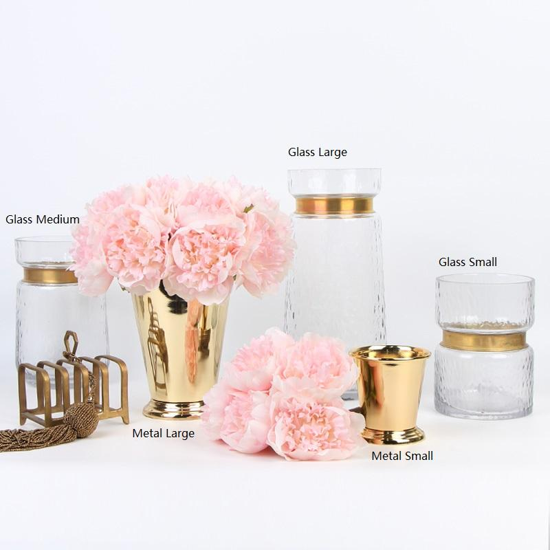Gold Metallic Line Glass Vase and Ice Bucket Style Vase - G Home Collection
