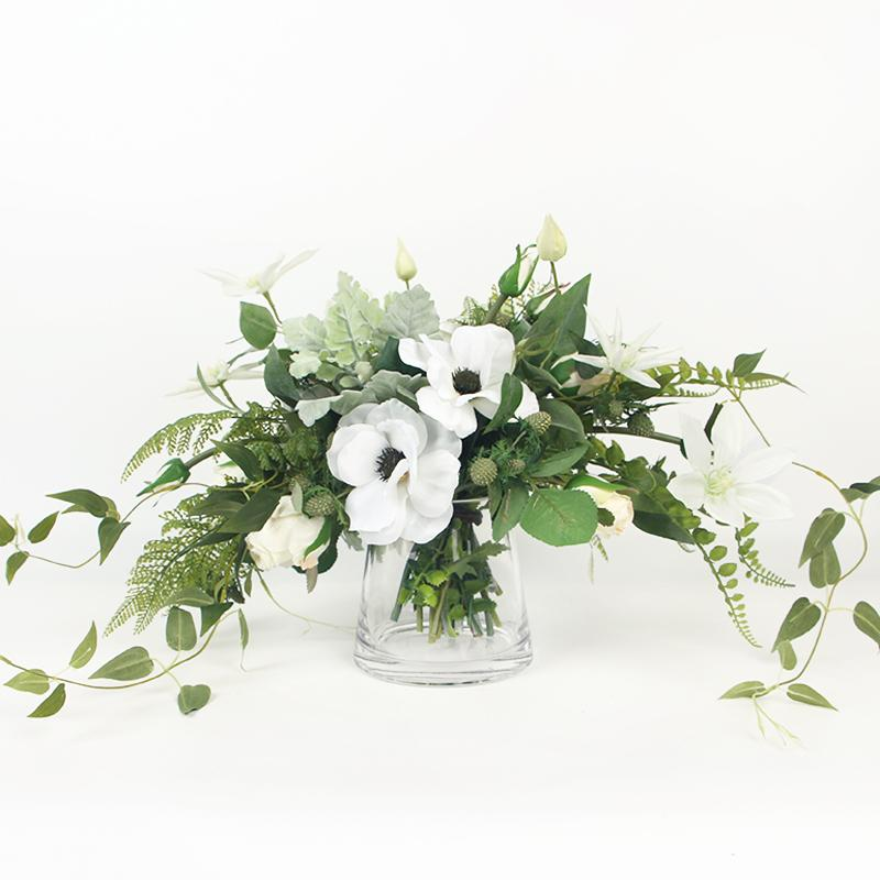 225 & White Anemone Flower and Green Leaf Bouquet with Glass Vase
