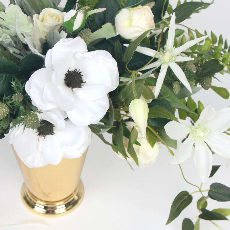 White Anemone Flower and Green Leaf Bouquet with Gold Metal Vase - G Home Collection