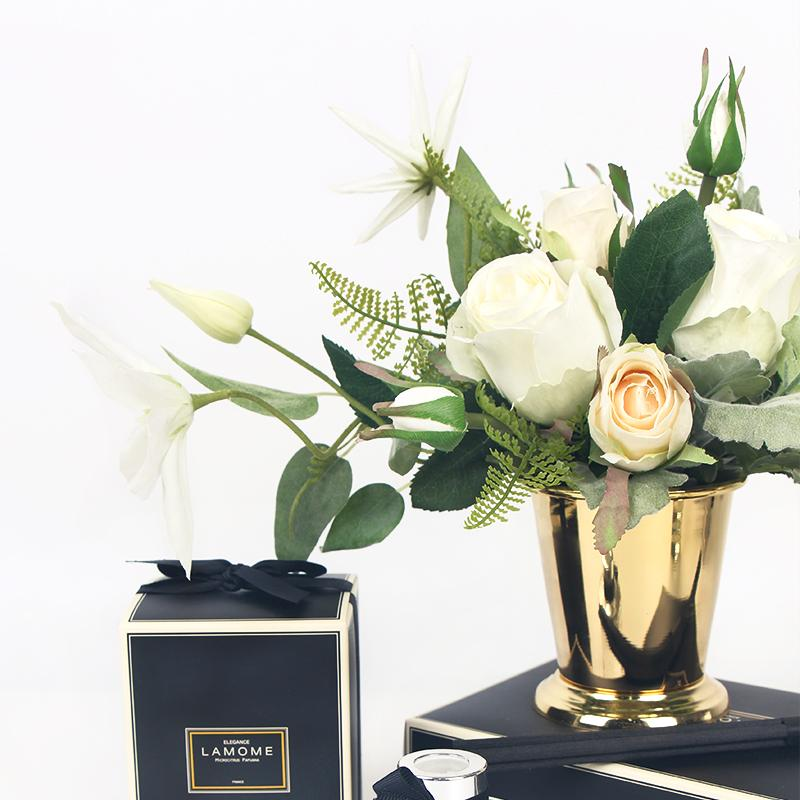 White Rose and Green Leaf Small Bouquet with Gold Metal Vase - G Home Collection