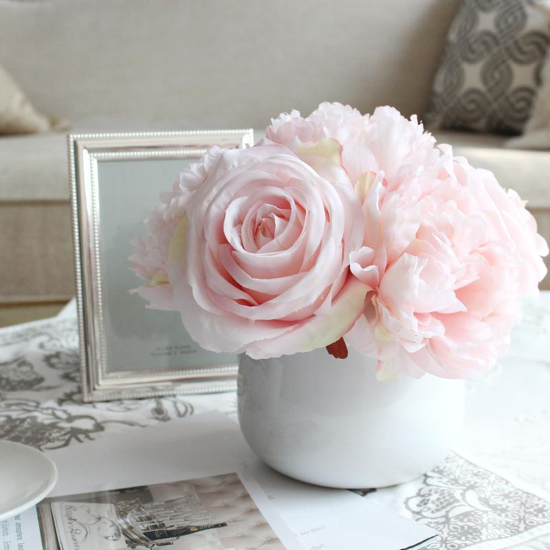 Light Pink Peony And Rose Mixed Flower Arrangement G Home Collection