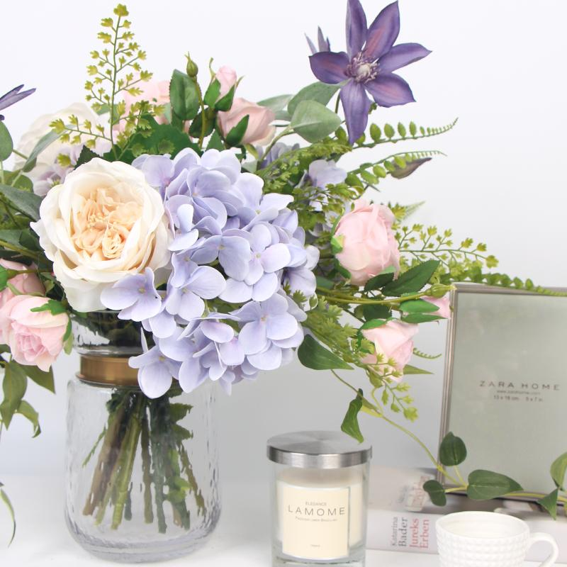 Purple Hydrangea Clematis White Rose Flower Bouquet with Glass Vase - G Home Collection