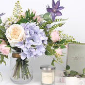 Purple Hydrangea Clematis White Rose Flower Bouquet with Glass Vase