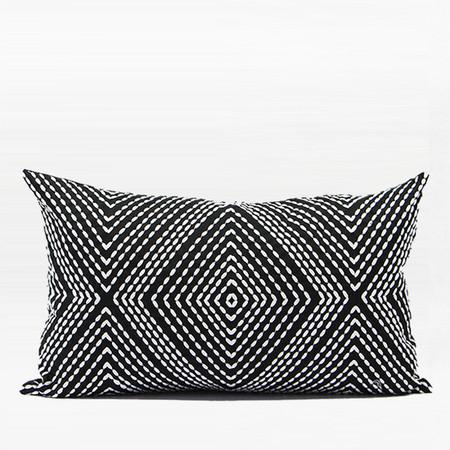 "Black and White Diamond Embroidered Pillow 12""X20"" - G Home Collection"