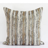 Light Gold Mix Color Stripe Pattern Metallic Chenille Pillow 20
