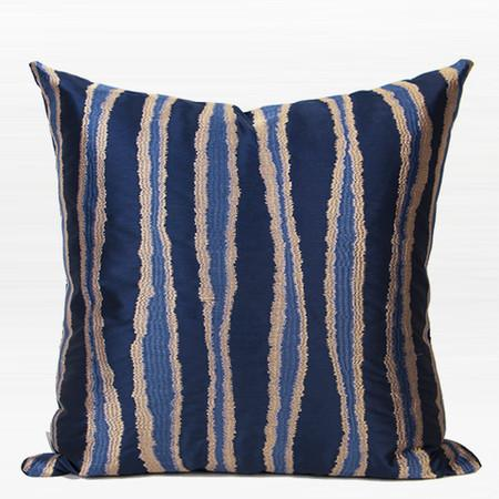 "Blue Wave Stripe Embroidered Pillow 20""X20"" - G Home Collection"