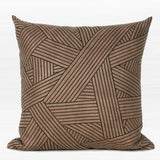 Brown Faux Leather with Black Abstract Stripe Embroidered Pillow 20
