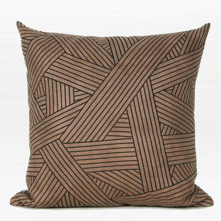 "Brown Faux Leather with Black Abstract Stripe Embroidered Pillow 20""X20"""