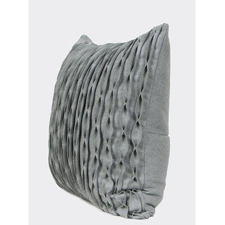 "Gray Handmade Textured Wave Wool Pillow 20""X20"" - G Home Collection"