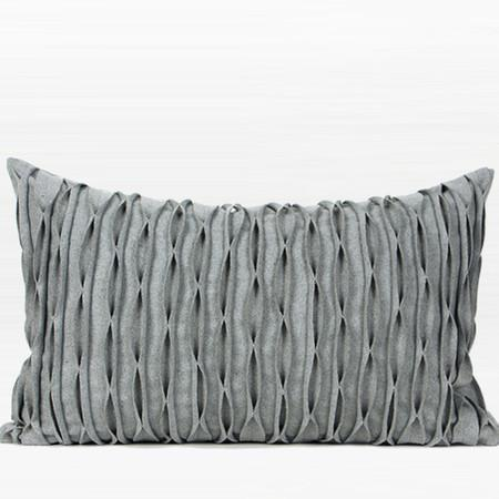 "Gray Handmade Textured Wave Wool Pillow 14""X22"" - G Home Collection"