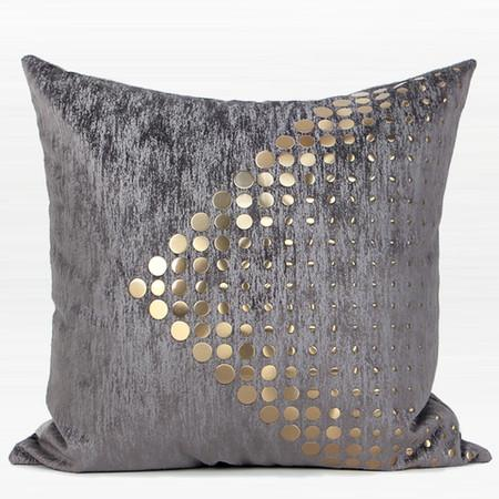 "Dark Gray with Gold Textured Dots Arrow Pattern Pillow 20""X20"""