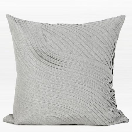 "Gray Textured Abstract Curve Line Wool Pillow 20""X20"" - G Home Collection"