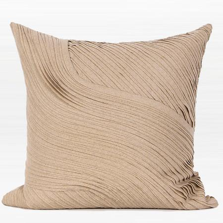 "Light Tan Textured Abstract Curve Line Wool Pillow 20""X20"""