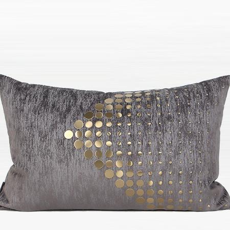 "Dark Gray with Gold Textured Dots Arrow Pattern Pillow 14""X22"" - G Home Collection"