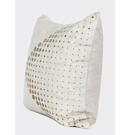 "White with Gold Textured Dots Arrow Pattern Pillow 20""X20"" - G Home Collection"