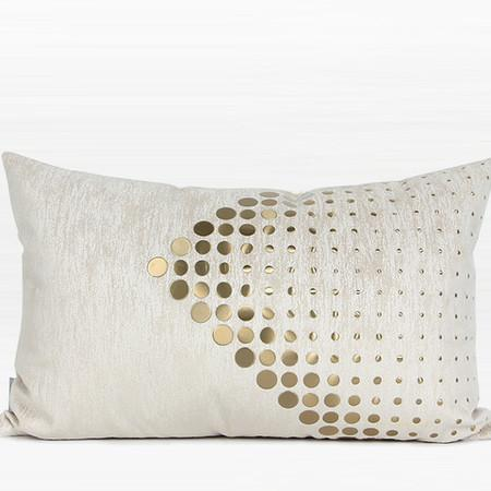 "Gold Handmade Textured Check Beaded Pillow 12""X22"""