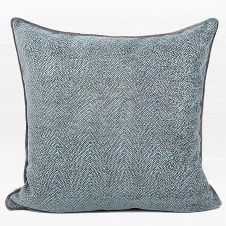 "Gray Blue Chevron Jacquard Pillow 20""X20"""