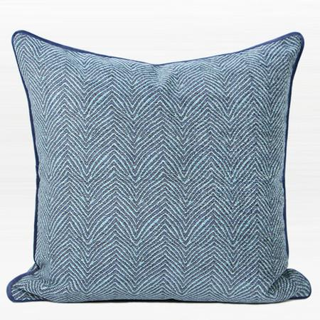 "Blue Chevron Jacquard Pillow 20""X20"""