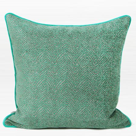 "Green Chevron Jacquard Pillow 20""X20"" - G Home Collection"