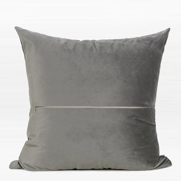 "Gray with Gold Faux Leather Embroidered Pillow 20""X20"" - G Home Collection"