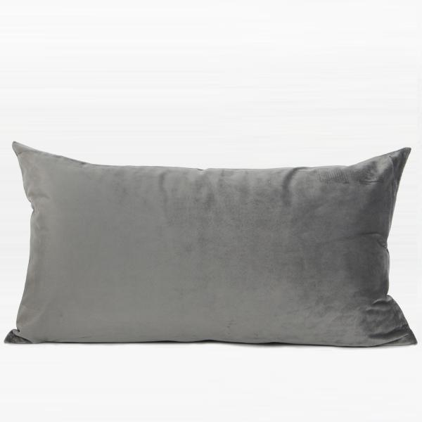 "Gray with Gold Faux Leather Embroidered Pillow 12""X22"" - G Home Collection"