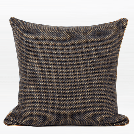 "Dark Gray with Gold Woven Fabric Solid Color Pillow 20""X20"""