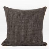 Dark Gray with Gold Woven Fabric Solid Color Pillow 20