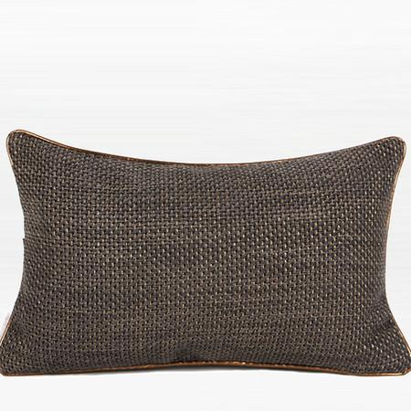 "Dark Gray with Gold Woven Fabric Solid Color Pillow 12""X20"""
