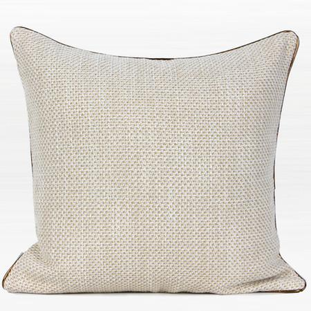 "White with Gold Woven Fabric Solid Color Pillow 20""X20"""