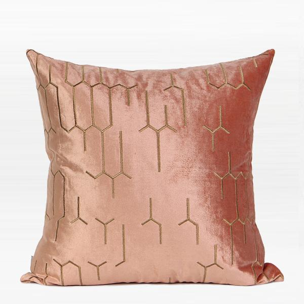 "Pink with Gold Embroidered Geometry Pattern Pillow 20""X20"" - G Home Collection"