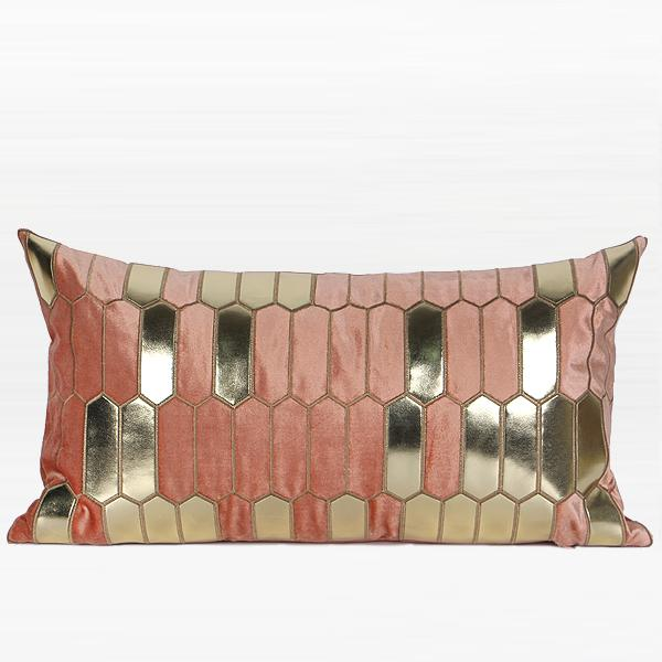 "Pink with Gold Faux Leather Embroidered Pillow 12""X22"" - G Home Collection"