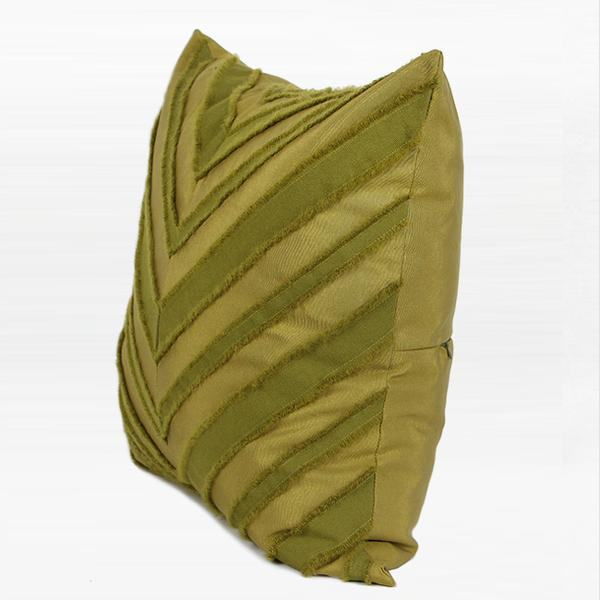 "Wasabi Green Tassel V Stripe Textured Pillow 20""X20"" - G Home Collection"