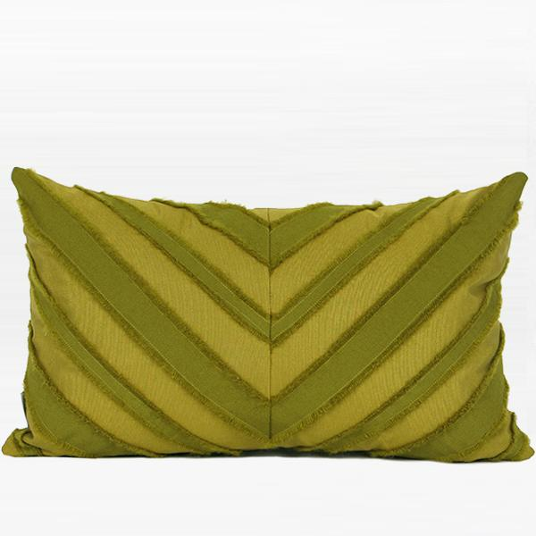 "Wasabi Green Tassel V Stripe Textured Pillow 12""X20"" - G Home Collection"