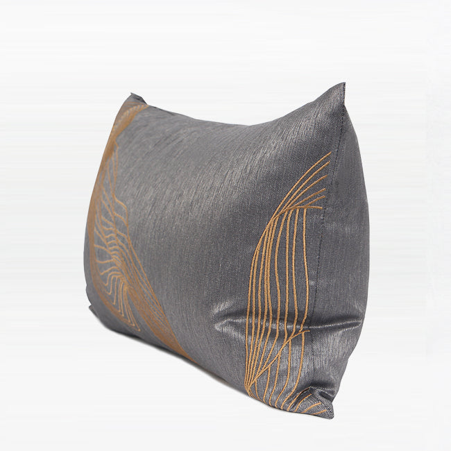 "Dark Gray Orange Wind Abstract Embroidered Lumbar Pillow 12 X 20"" - G Home Collection"