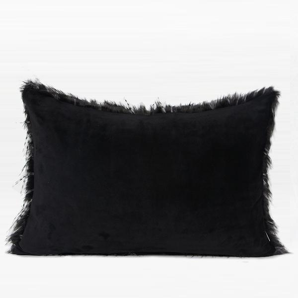 "Black and White Two Tone Faux Fur Pillow 14""X20"" - G Home Collection"