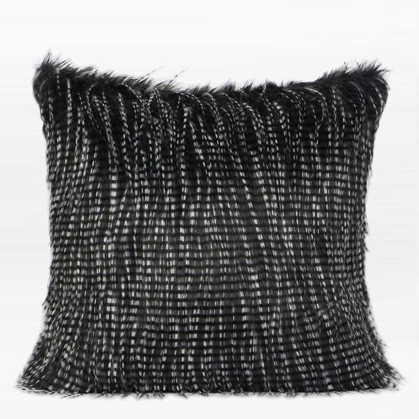 "Black and White Two Tone Faux Fur Pillow 22""X22"" - G Home Collection"