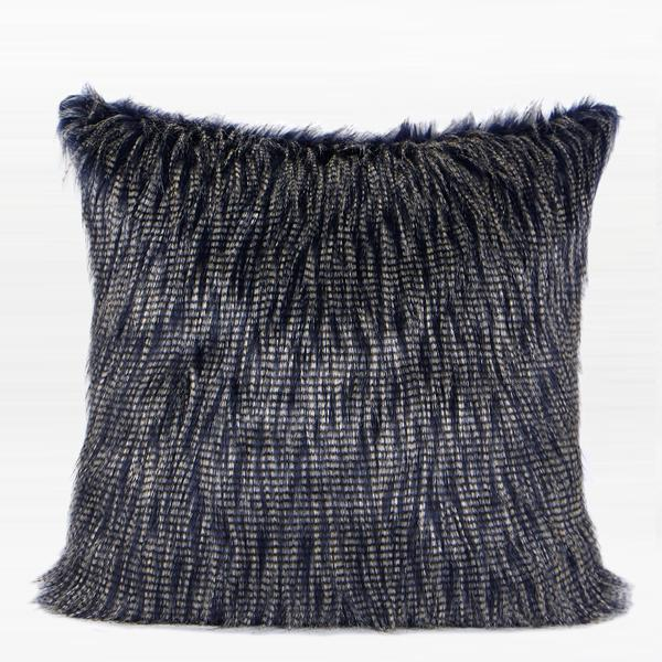 "Blue and White Two Tone Faux Fur Pillow 22""X22"" - G Home Collection"
