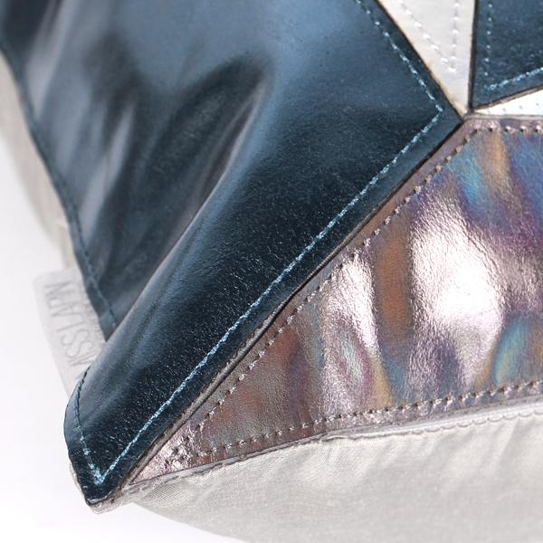 "Blue and Silver Three Color Faux Leather Pillow 16""X16"" - G Home Collection"