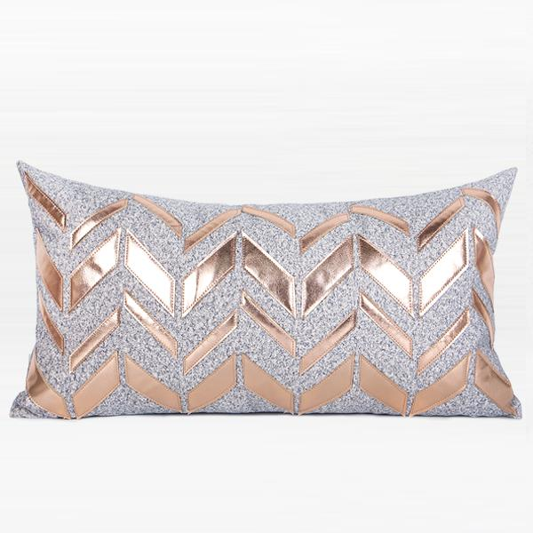 "Gray with Rose Cold Faux Leather Chevron Pattern Pillow 12""X22"" - G Home Collection"