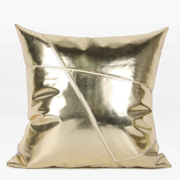 "Gold Faux Leather Pillow 18""X18"" - G Home Collection"