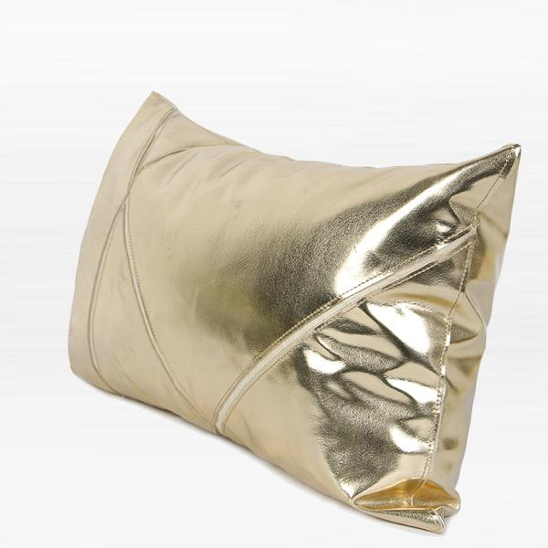 "Gold Faux Leather Pillow 12""X20"" - G Home Collection"