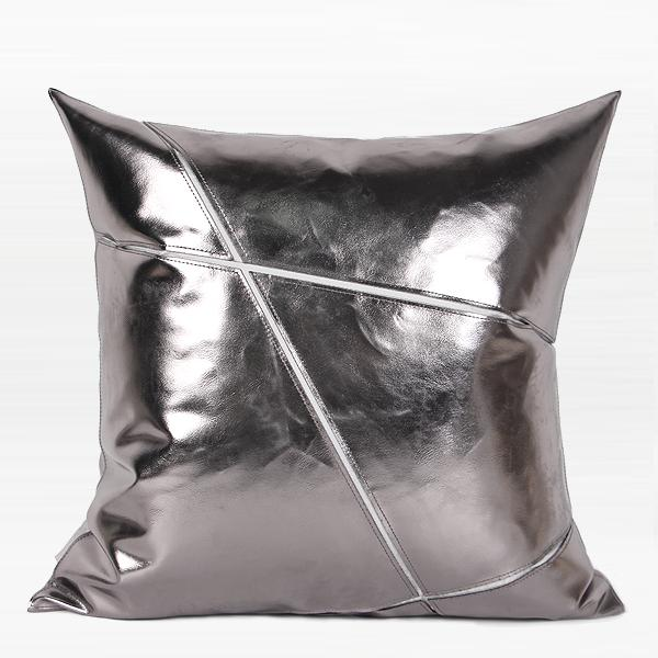 "Silver Faux Leather Pillow 18""X18"" - G Home Collection"