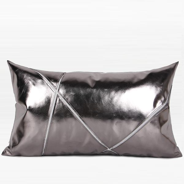 "Silver Faux Leather Pillow 12""X20"" - G Home Collection"