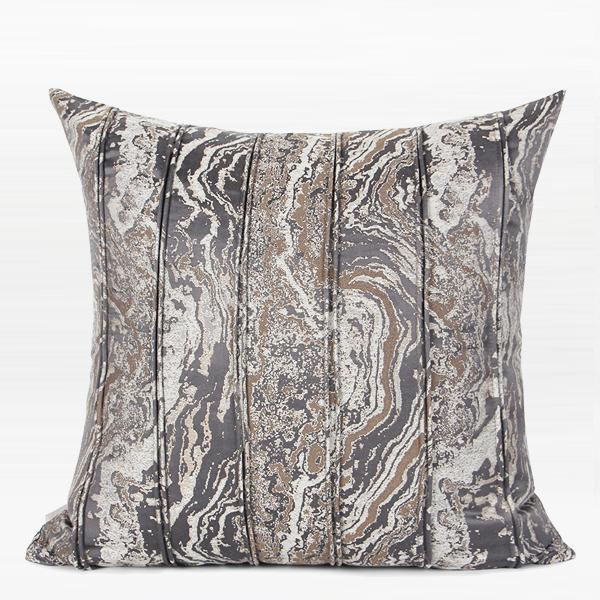 "Dark Gray Textured Striped Pillow 20""X20"" - G Home Collection"