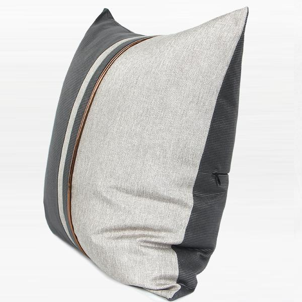 "Dark Gray and Light Gray Two Area Pillow with Gold Line 20""X20"" - G Home Collection"
